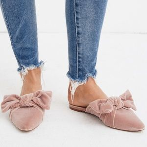 NWT: MADEWELL Bow Slide in Velvet